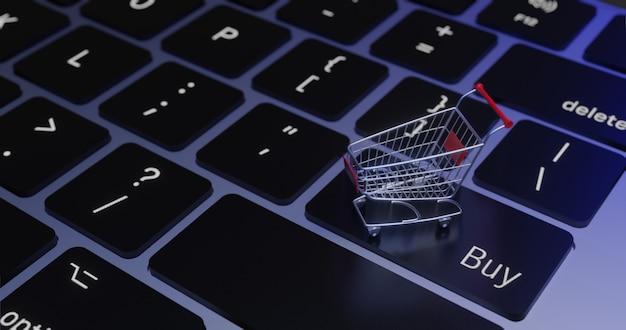 3d-rendering kar op toetsenbord., online winkelen concept. Premium Foto