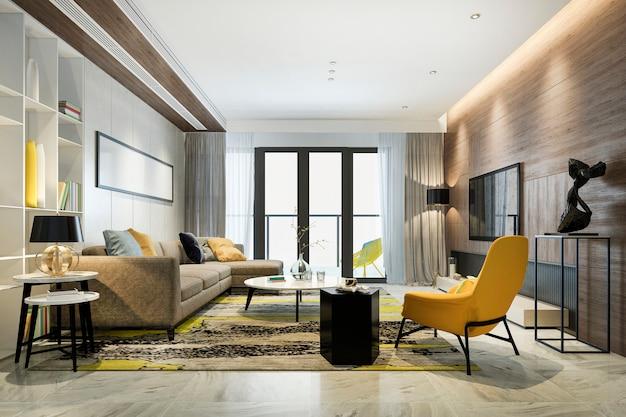 3d-rendering luxe en moderne gele woonkamer met sofa ...