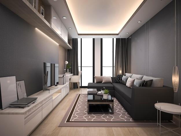 3d-rendering luxe en moderne woonkamer met een goed design lederen sofa Premium Foto