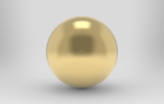 3d-rendering. luxe gouden metalen bol Premium Foto