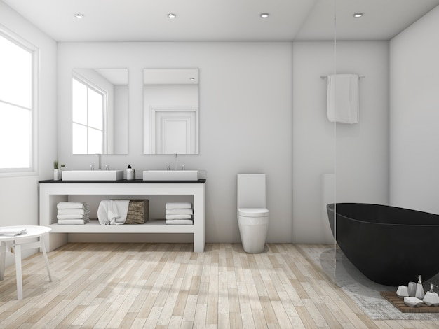 3d-rendering minimale loft badkamer met zwarte badkuip Premium Foto