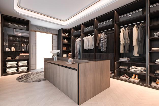 3d-rendering minimale loft donker hout inloopkast met garderobe Premium Foto