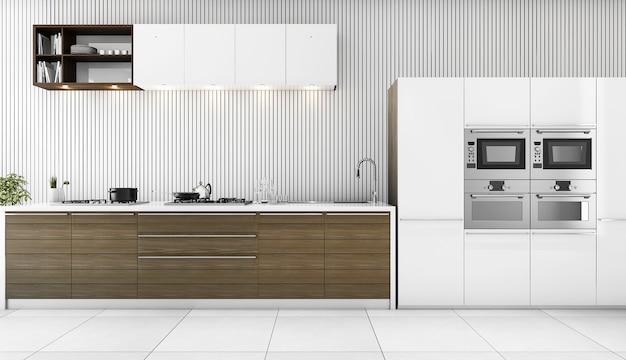 3d-rendering minimale witte moderne keuken Premium Foto
