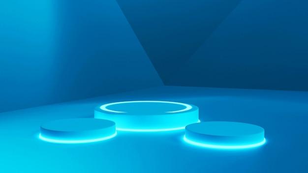 3d-rendering model, blauwe fluorescerende abstracte rendering podium renderings Premium Foto