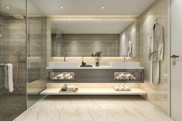 3d-rendering moderne klassieke badkamer met luxe tegel decor Premium Foto