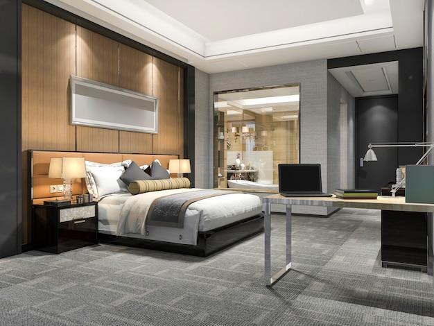 3d-rendering moderne luxe slaapkamer suite en badkamer Premium Foto
