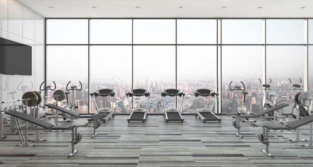 3d-rendering moderne stijl fitness en sportschool met uitzicht op de stad en de lucht Premium Foto