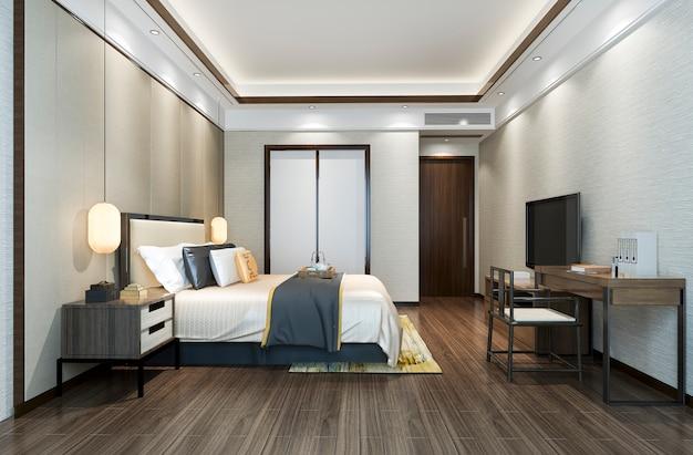 3d-rendering mooie klassieke luxe slaapkamer suite in hotel met tv en werktafel in de buurt van badkamer Premium Foto