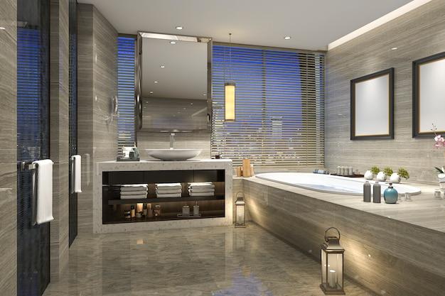 3d-rendering nacht uitzicht badkamer met moderne luxe Premium Foto