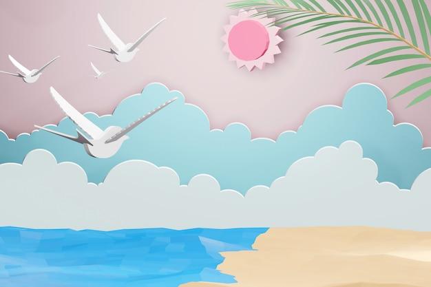 3d-rendering ontwerp, papier kunststijl van zee met strand en wolk achtergrond onder de sunl Premium Foto