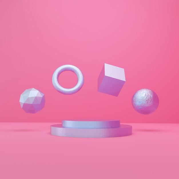 3d-rendering paarse podium en objecten, minimale stijl op roze achtergrond Premium Foto