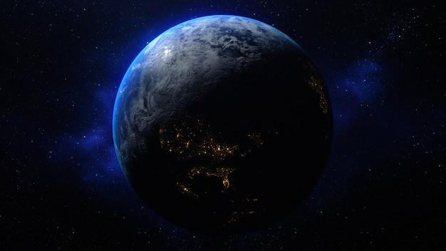 3d-rendering planeet aarde in de ruimte Premium Foto