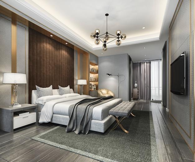 3d-rendering prachtige luxe slaapkamer suite in hotel met tv en werktafel Premium Foto