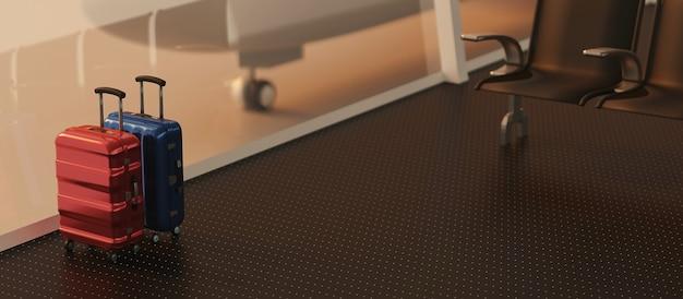 3d-rendering reiziger koffers in terminal luchthaven vertrekhal en vliegtuig Premium Foto