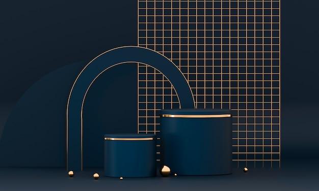 3d-rendering ronde podiumgeometrie met blauwe en gouden elementen Premium Foto