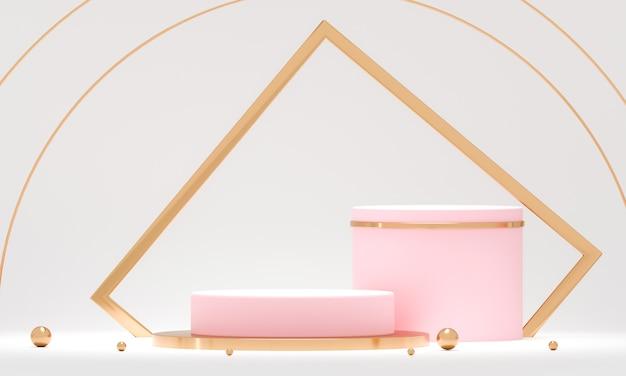 3d-rendering ronde podiumgeometrie met witte en gouden elementen. Premium Foto