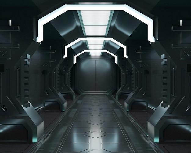 3d-rendering ruimteschip zwart interieur Premium Foto