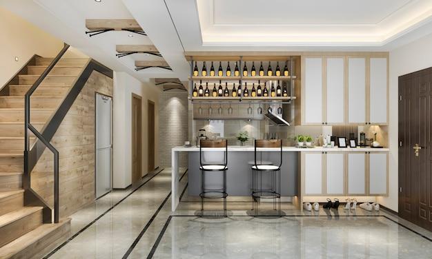 3d-rendering scandinavische loft moderne keuken met eethoek in de buurt van trap Premium Foto