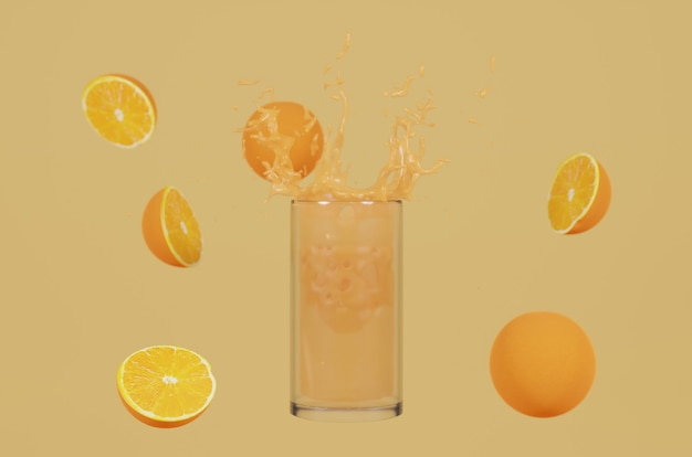 3d-rendering sinaasappelsap Premium Foto