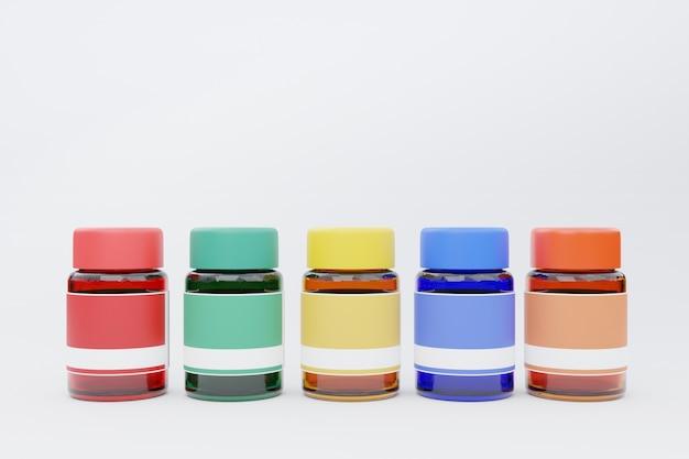 3d-rendering, verfkleuren in glazen fles, terug naar school concept Premium Foto
