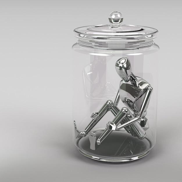 3d-rendering zakenman in een glazen pot Premium Foto