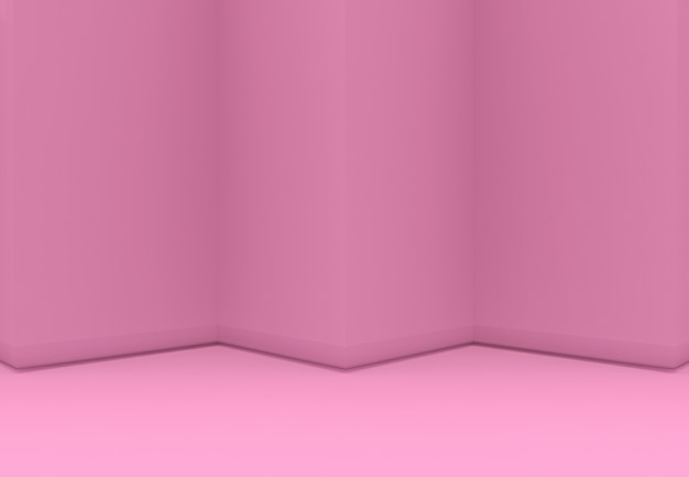 3d-rendering. zoete roze driehoekszigzagmuur en vloer backgorund. Premium Foto