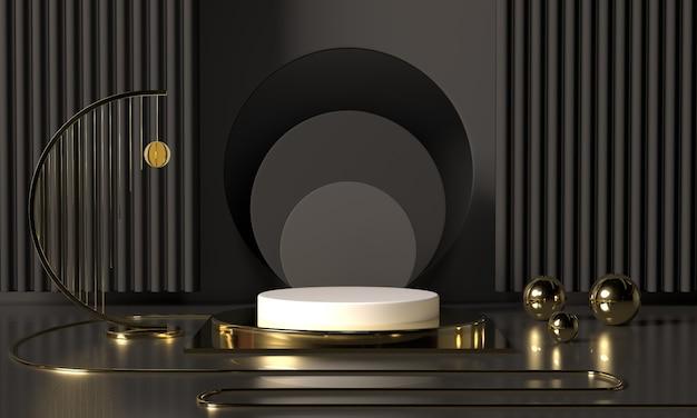 3d-rendering zwarte podiumgeometrie met gouden elementen. abstract geometrisch vorm leeg podium. minimale scène vierkante stap vloer abstracte compositie Premium Foto