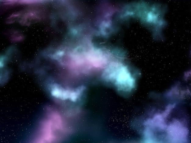 3d-ruimte hemel met nevel en sterren Gratis Foto