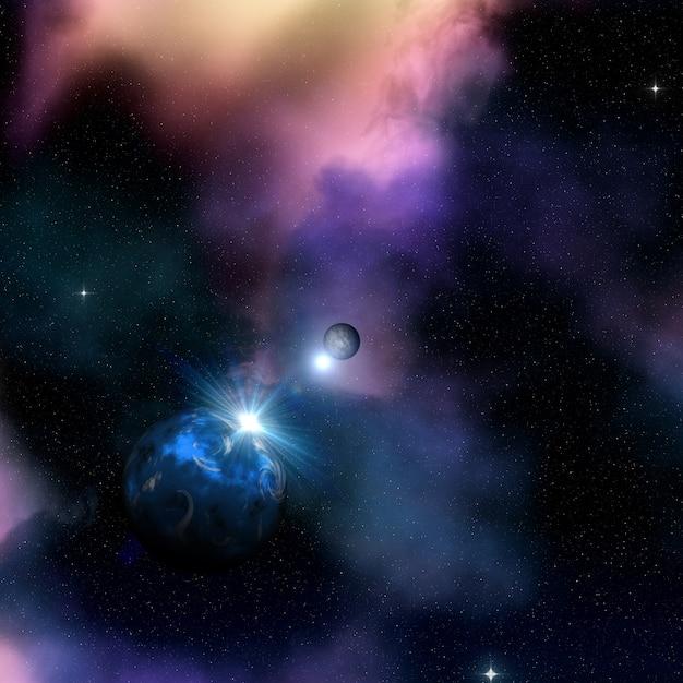 3d ruimteachtergrond met zon die achter fictieve planeet toeneemt Premium Foto