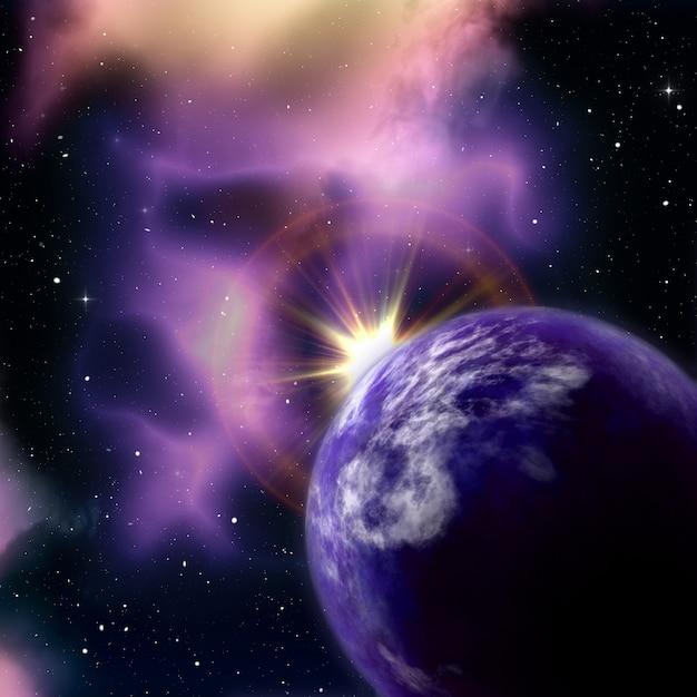 3d ruimteachtergrond met zon die achter fictieve planeet toeneemt Gratis Foto