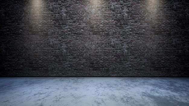 3d ruimtebinnenland met bakstenen muur met schijnwerpers die neer glanzen Gratis Foto