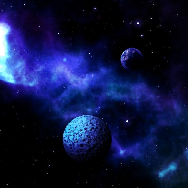 3d-ruimtescène met fictieve planeten Gratis Foto