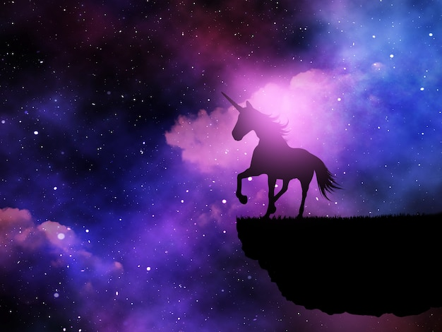 3d silhouet van een fantasieeenhoorn tegen een ruimtea nachthemel Gratis Foto