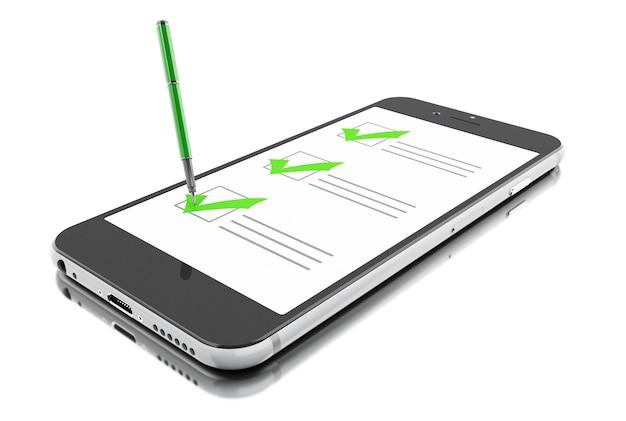 3d-smartphone met markering en checklist. online vragenlijst. Premium Foto