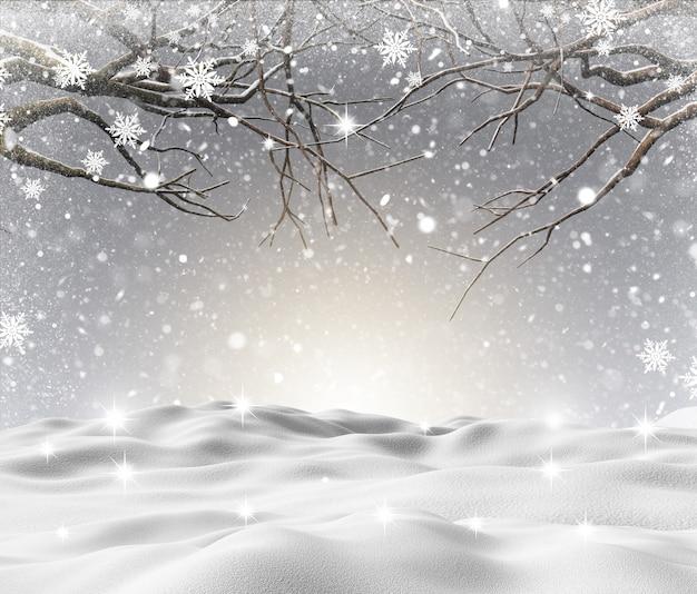 3d sneeuwlandschap met de winterbomen Gratis Foto