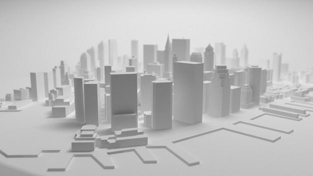3d stadspanorama op witte achtergrond wordt geïsoleerd die Premium Foto