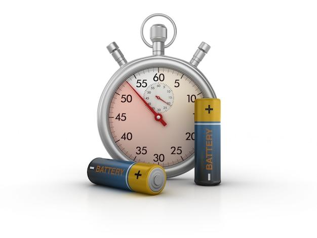 3d-stopwatch met aa-batterijen Premium Foto