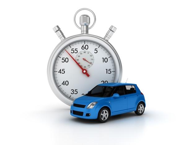 3d-stopwatch met auto Premium Foto