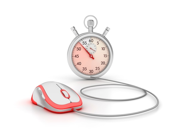 3d-stopwatch met computermuis Premium Foto