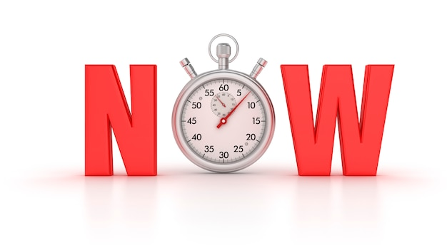 3d-stopwatch met now word Premium Foto