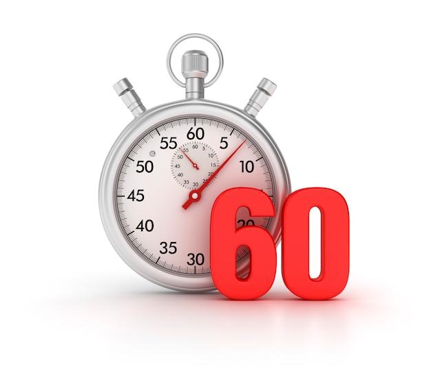 3d-stopwatch met nummer 60 Premium Foto