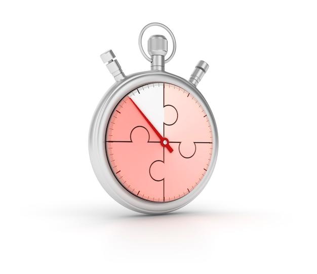 3d-stopwatch met puzzel Premium Foto