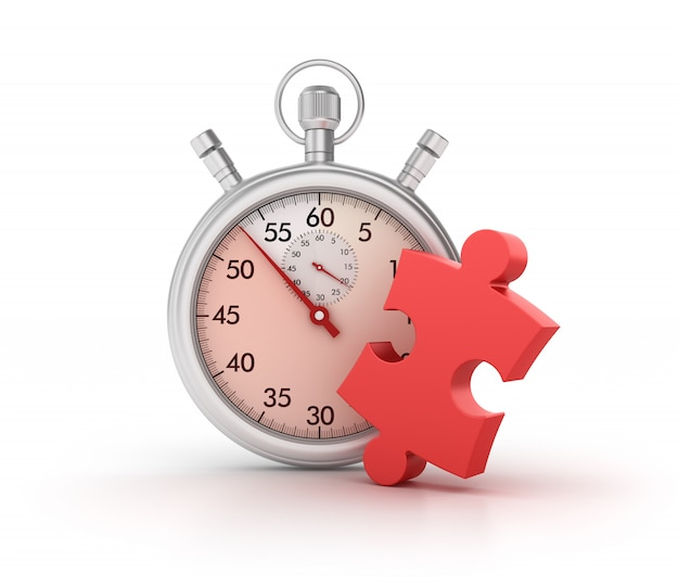 3d-stopwatch met puzzelstuk Premium Foto