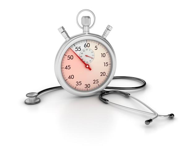 3d-stopwatch met stethoscoop Premium Foto