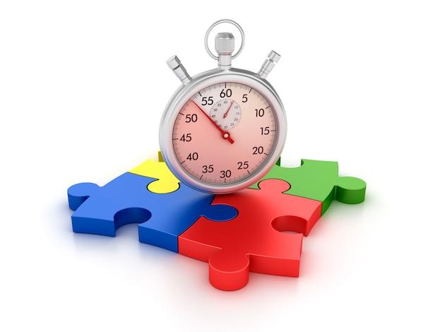 3d-stopwatch op puzzelstukken Premium Foto