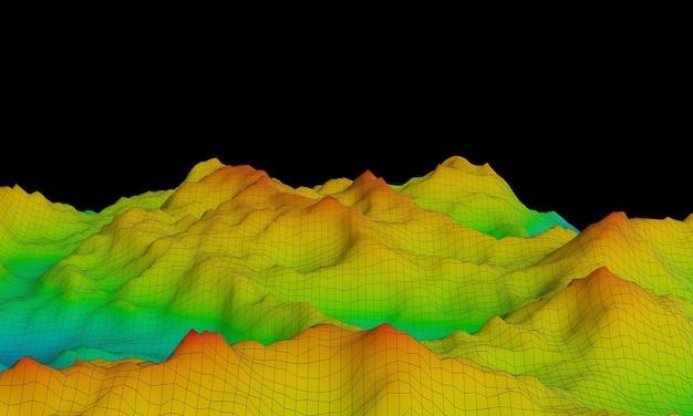 3d teruggegeven topografische berg. toon hoogtekleur blauw naar rood. Premium Foto