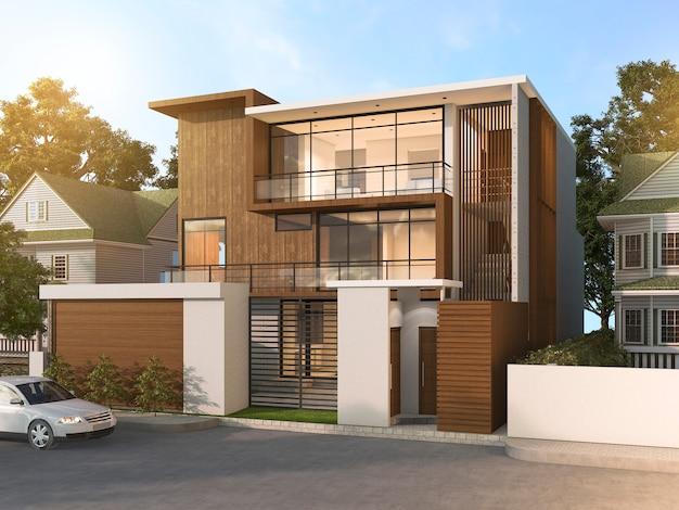 3d teruggevend aardig modern stijl houten huis in mooi dorp Premium Foto