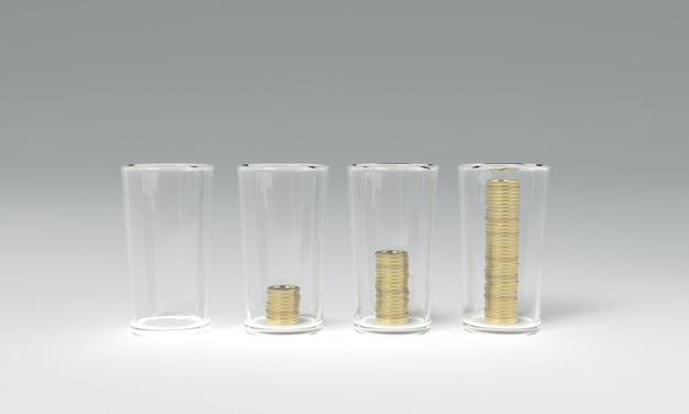 3d teruggevend beeld van het besparen van geldmuntstukken Premium Foto