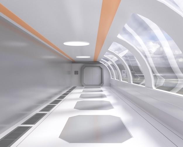 3d teruggevende heldere futuristische tunnel met venster en buitenmening, gang, ruimteschip Premium Foto