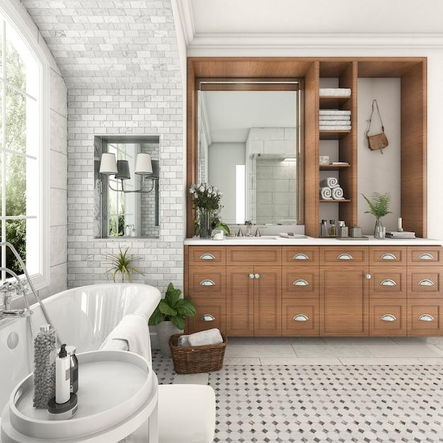 3d teruggevende hout en tegelontwerpbadkamers dichtbij venster met boogbakstenen muur Premium Foto